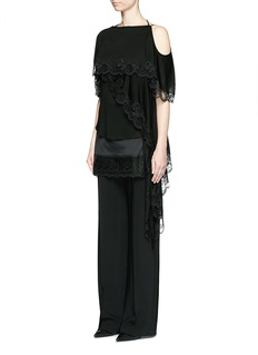 Givenchy Open back lace trim asymmetric hem top