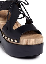 Cutout rivet lace-up leather clog sandals