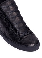 Python effect leather high top sneakers
