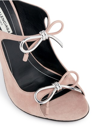 Detail View - Click To Enlarge - Balenciaga - Metal bow suede mules