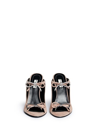 Front View - Click To Enlarge - Balenciaga - Metal bow suede mules