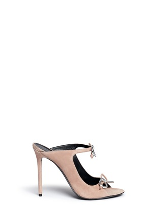 Main View - Click To Enlarge - Balenciaga - Metal bow suede mules