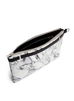 'Phileas' marble print leather zip pouch