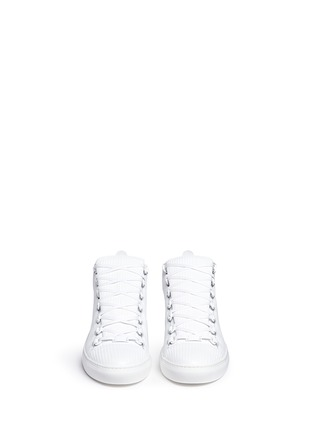 Front View - Click To Enlarge - Balenciaga - Carbone effect leather sneakers