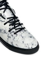 Marble print leather high top sneakers