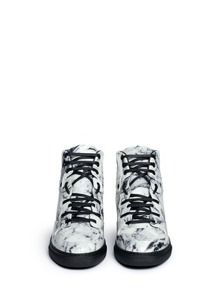 Front View - Click To Enlarge - Balenciaga - Marble print leather high top sneakers