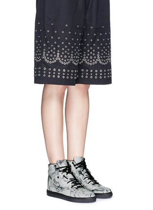 Figure View - Click To Enlarge - Balenciaga - Marble print leather high top sneakers