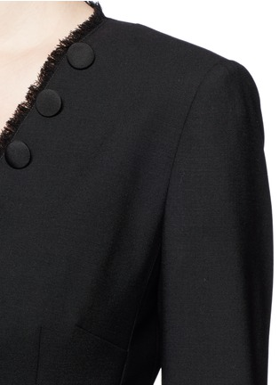 Detail View - Click To Enlarge - Dolce & Gabbana - Frayed trim button wool suiting tailored jacket