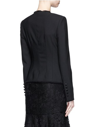 Back View - Click To Enlarge - Dolce & Gabbana - Frayed trim button wool suiting tailored jacket