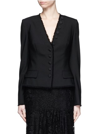 Main View - Click To Enlarge - Dolce & Gabbana - Frayed trim button wool suiting tailored jacket