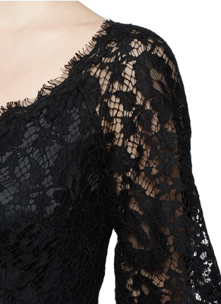 Detail View - Click To Enlarge - Dolce & Gabbana - Ruffle hem scoop neck lace midi dress