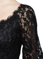 Ruffle hem scoop neck lace midi dress