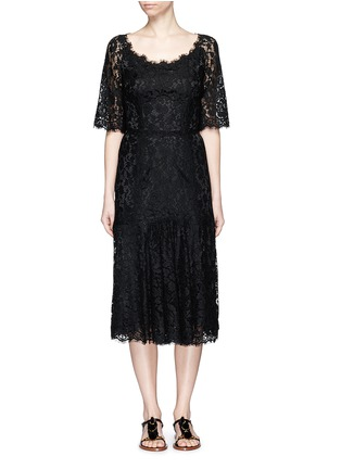 Main View - Click To Enlarge - Dolce & Gabbana - Ruffle hem scoop neck lace midi dress
