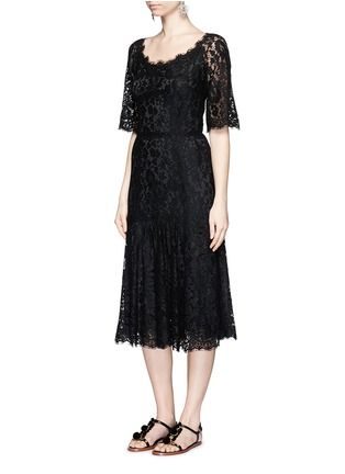 Figure View - Click To Enlarge - Dolce & Gabbana - Ruffle hem scoop neck lace midi dress