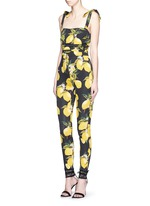 Lemon print ruched silk jumpsuit