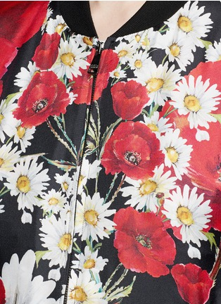 Detail View - Click To Enlarge - Dolce & Gabbana - Daisy poppy print silk twill bomber jacket