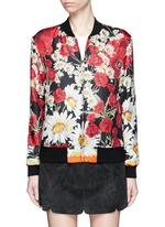Daisy poppy print silk twill bomber jacket