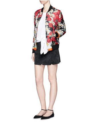 Figure View - Click To Enlarge - Dolce & Gabbana - Daisy poppy print silk twill bomber jacket