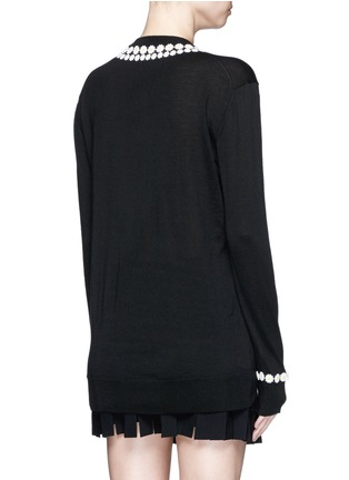 Back View - Click To Enlarge - Dolce & Gabbana - Daisy macramé cashmere-cotton long sweater