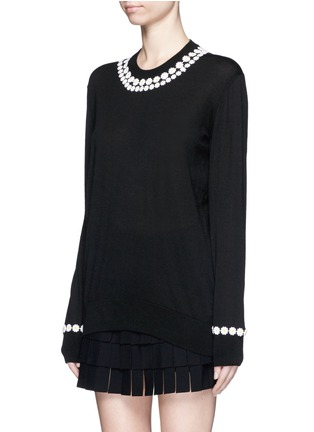 Front View - Click To Enlarge - Dolce & Gabbana - Daisy macramé cashmere-cotton long sweater