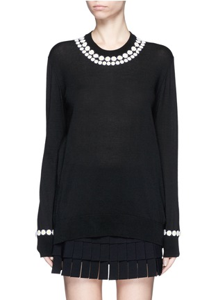 Main View - Click To Enlarge - Dolce & Gabbana - Daisy macramé cashmere-cotton long sweater