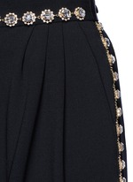 Bow back crystal wool-cotton pleat culottes