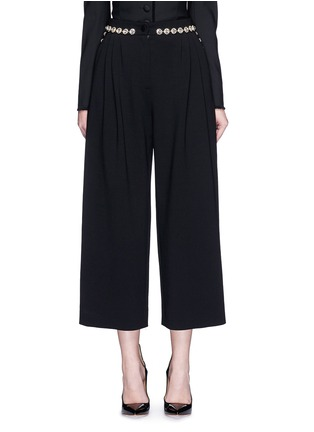 Dolce & Gabbana - Bow back crystal wool-cotton pleat culottes