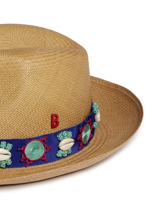 Detail View - Click To Enlarge - My Bob - Embroidery seashell straw fedora panama hat