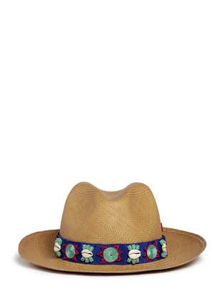 Main View - Click To Enlarge - My Bob - Embroidery seashell straw fedora panama hat