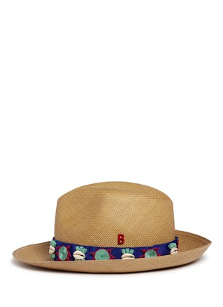 Figure View - Click To Enlarge - My Bob - Embroidery seashell straw fedora panama hat