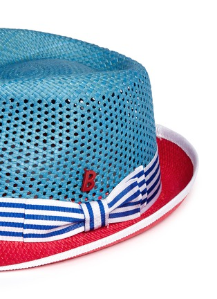 Detail View - Click To Enlarge - My Bob - 'Trilby Aero' colourblock straw Panama hat