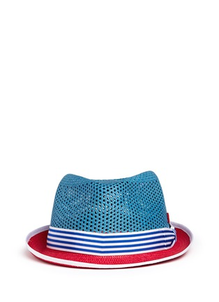 Main View - Click To Enlarge - My Bob - 'Trilby Aero' colourblock straw Panama hat