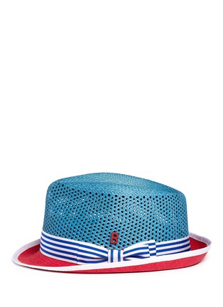 Figure View - Click To Enlarge - My Bob - 'Trilby Aero' colourblock straw Panama hat