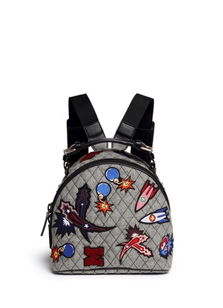Main View - Click To Enlarge - MSGM - Spaceship appliqué quilted backpack