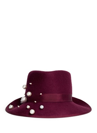 Main View - Click To Enlarge - Piers Atkinson - 'Virna' faux pearl wool felt trilby hat