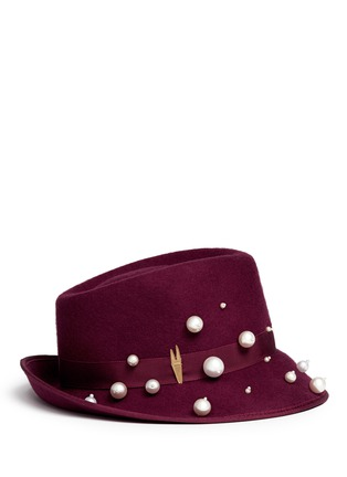 Figure View - Click To Enlarge - Piers Atkinson - 'Virna' faux pearl wool felt trilby hat
