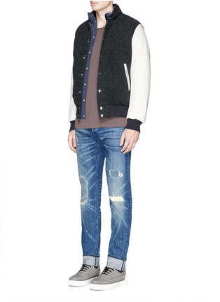 Front View - Click To Enlarge - 3x1 - 'M5' distressed slim fit jeans