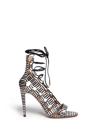 Main View - Click To Enlarge - Aquazzura - 'Amazon' stripe python leather caged sandals