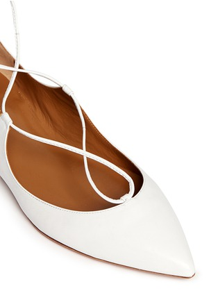 Detail View - Click To Enlarge - Aquazzura - 'Christy' lace-up leather flats