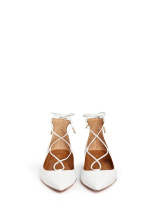 Figure View - Click To Enlarge - Aquazzura - 'Christy' lace-up leather flats