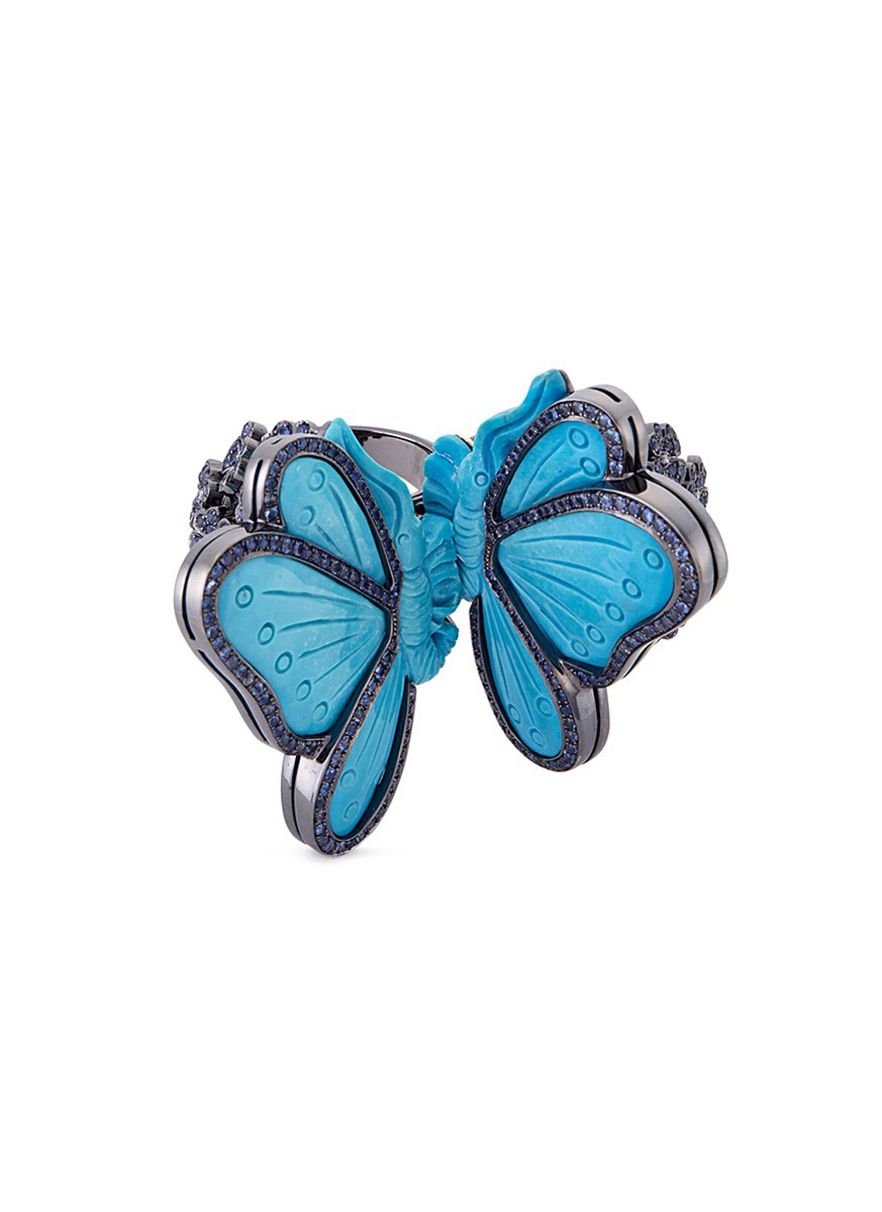 LYDIA COURTEILLE Diamond sapphire turquoise 18k gold butterfly two finger ring