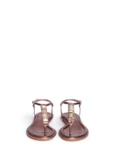B BY BRIAN ATWOOD 'Callas' crystal T-strap metallic leather sandals