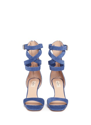 Front View - Click To Enlarge - Valentino - Ankle wrap suede sandals
