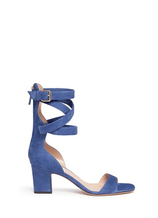 Main View - Click To Enlarge - Valentino - Ankle wrap suede sandals