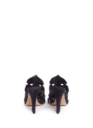 Back View - Click To Enlarge - Charlotte Olympia - 'Amazonia' Monstera leaf cutout suede mules