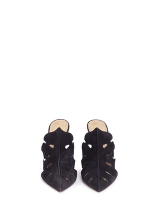 Front View - Click To Enlarge - Charlotte Olympia - 'Amazonia' Monstera leaf cutout suede mules