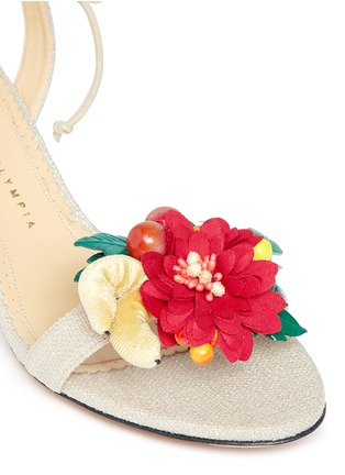 Detail View - Click To Enlarge - Charlotte Olympia - 'Tropical Tara' fruit cluster canvas sandals