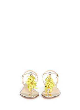 Front View - Click To Enlarge - Charlotte Olympia - Banana charm mirror leather sandals