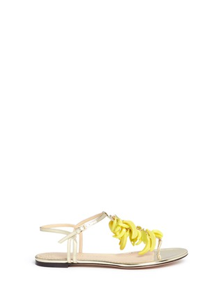 Main View - Click To Enlarge - Charlotte Olympia - Banana charm mirror leather sandals