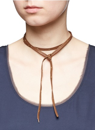 Fallon - Hammered stud wraparound leather choker